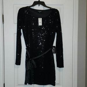 EXPRESS black sequin long sleeve dress NWT